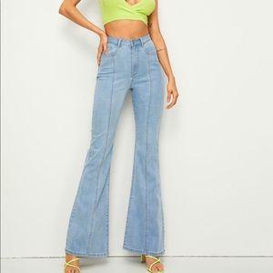 Shein Bleach Wash Flare Leg Jeans M